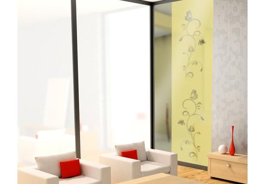 Folienfarbe in Wohnansicht: Sparkling Yellow - Sichtschutz Flora Duo III