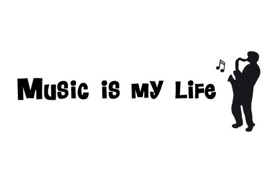 schwarz/weiss Ansicht - Wandtattoo Music is my life