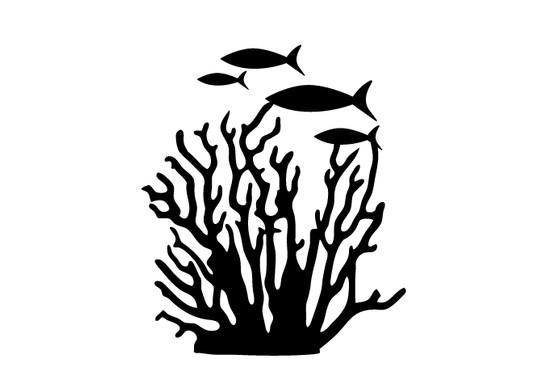 schwarz/weiss Ansicht - Wandtattoo Korallenriff Fische