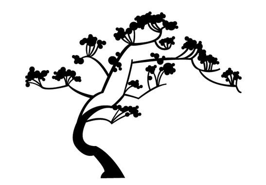 schwarz/weiss Ansicht - Wandtattoo Japan Baum
