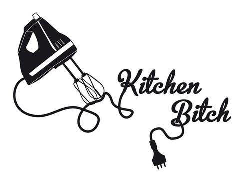 schwarz/weiss Ansicht - Wandtattoo Kitchen Bitch
