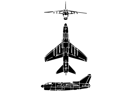schwarz/weiss Ansicht - Wandtattoo Flugzeug mehrere Ansichten