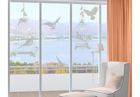 Folienfarbe in Wohnansicht: Frosted - Glasdekor Vogel Voliere