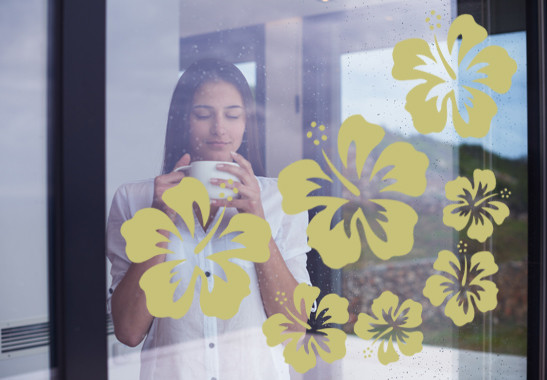 Glasdekor Hibiskus Blüten - Bild 3
