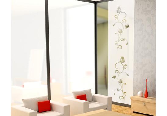 Folienfarbe in Wohnansicht: Frosted - Sichtschutz Flora Duo III