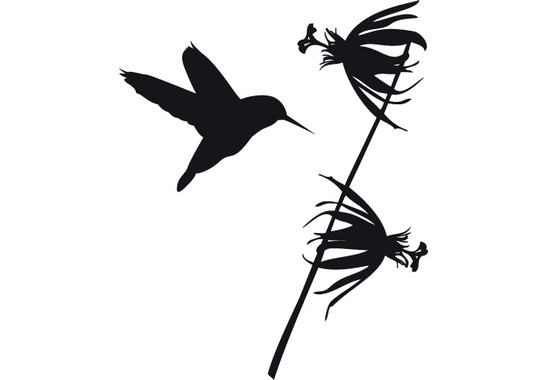schwarz/weiss Ansicht - Wandtattoo Kolibri mit Blume