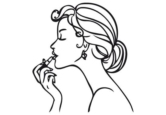 schwarz/weiss Ansicht - Wandtattoo Lipstik Girl