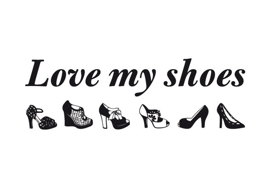 schwarz/weiss Ansicht - Wandtattoo Love my Shoes