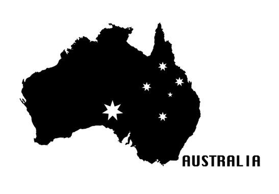 schwarz/weiss Ansicht - Wandtattoo Australia