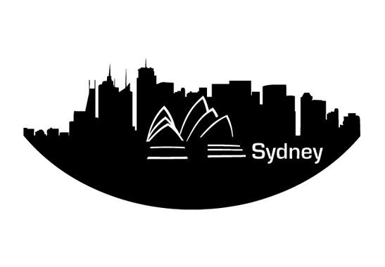 schwarz/weiss Ansicht - Wandtattoo Sydney