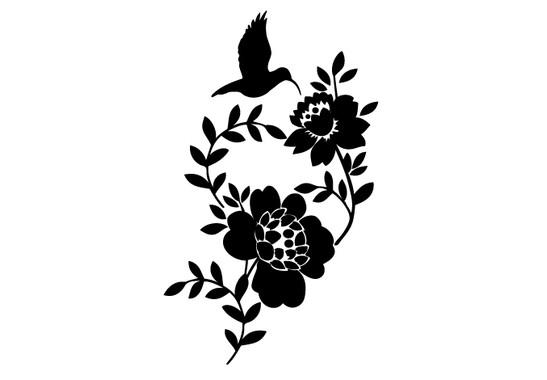 schwarz/weiss Ansicht - Wandtattoo Kolibri & Flowers