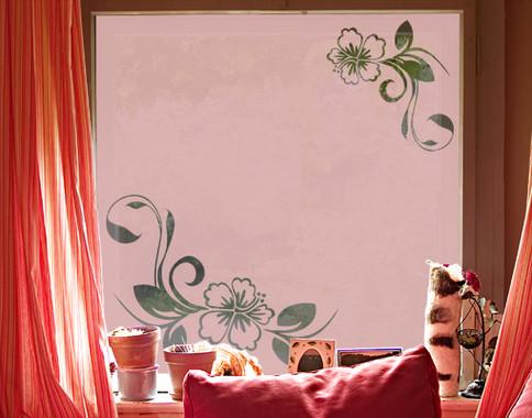 Folienfarbe in Wohnansicht: Romantic Rose - Sichtschutz Hibiskustraum II