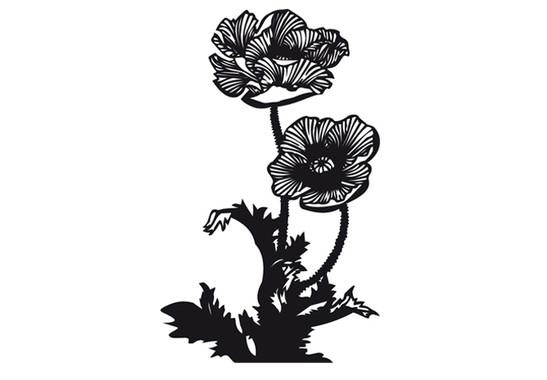 schwarz/weiss Ansicht - Wandtattoo Mohnblumen