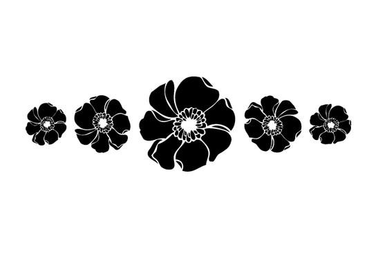 schwarz/weiss Ansicht - Wandtattoo Sommerblumen