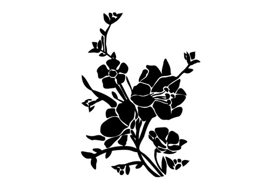 schwarz/weiss Ansicht - Wandtattoo Blumenbouquet