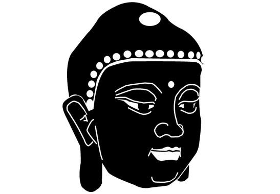 schwarz/weiss Ansicht - Wandtattoo Buddhagesicht