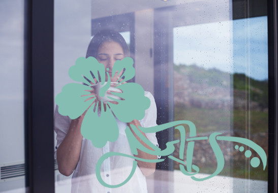 Glasdekor Floraler Hibiskus - Bild 5