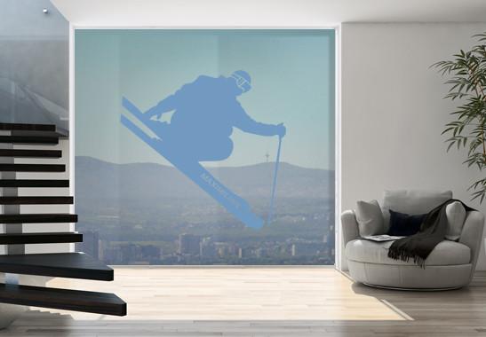 Glasdekor Wunschtext Skispringer