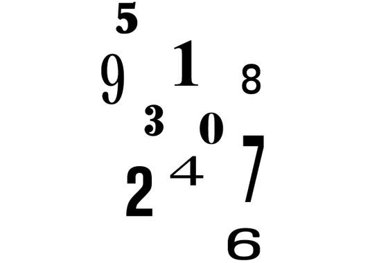 schwarz/weiss Ansicht - Wandtattoo Zahlendurcheinander