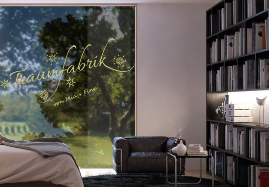 Glasdekor Wunschtext Unsere Traumfabrik - Bild 3