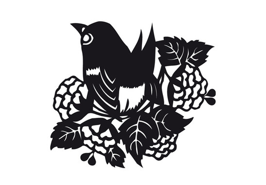 schwarz/weiss Ansicht - Wandtattoo Frühlingsvogel