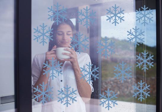 Glasdekor Schneeflöckchen Set