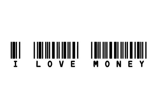 schwarz/weiss Ansicht - Wandtattoo I LOVE MONEY