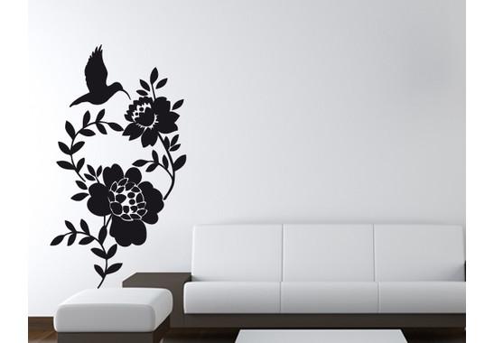 Wandtattoo Kolibri & Flowers
