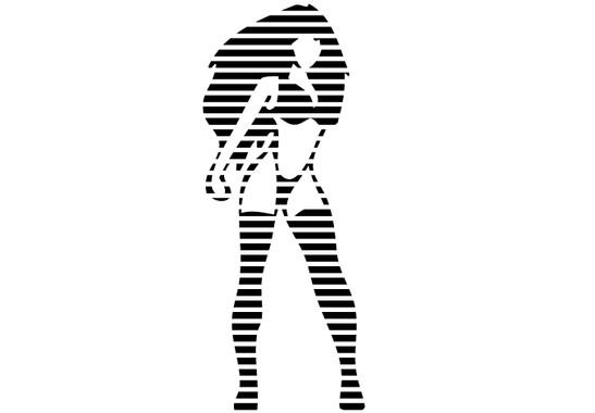 schwarz/weiss Ansicht - Wandtattoo Stripes