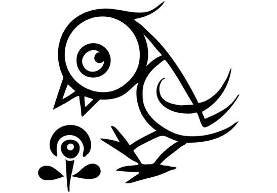 schwarz/weiss Ansicht - Wandtattoo Vögelchen