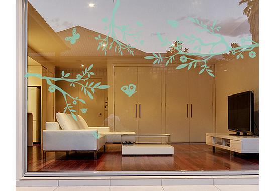 Folienfarbe in Wohnansicht: Refreshing Mint - Glasdekor Drei äste