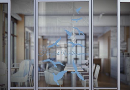 Glasdekor Wunschtext Vogelschwarm