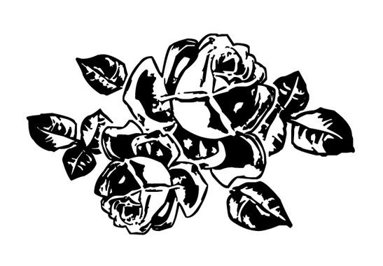 schwarz/weiss Ansicht - Wandtattoo Retro Rose