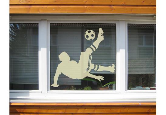 Folienfarbe in Wohnansicht: Sparkling Yellow - Glasdekor Fussball - Fallrückzieher