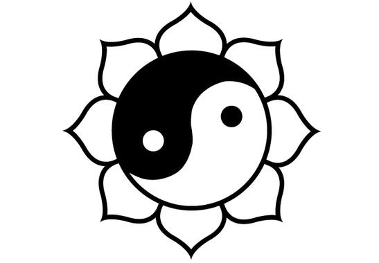 schwarz/weiss Ansicht - Wandtattoo Ying Yang Lotus