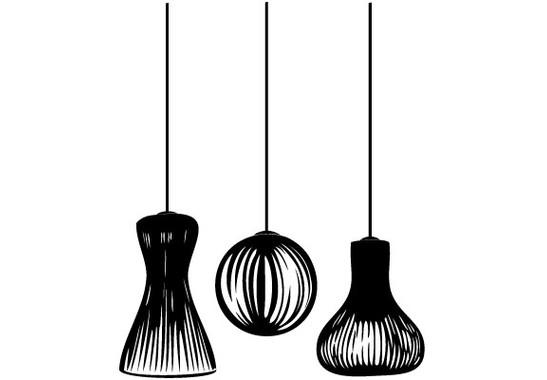 Folienfarbe in Wohnansicht: schwarz - Glasdekor Lampionschirme