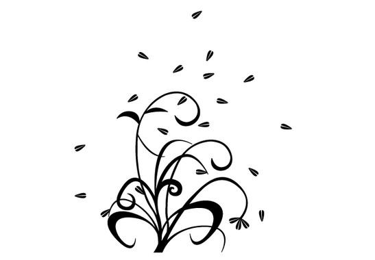 schwarz/weiss Ansicht - Wandtattoo Blüten im Wind