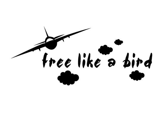schwarz/weiss Ansicht - Wandtattoo Free like a bird