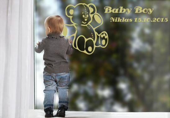Glasdekor Wunschtext Baby Teddy - Bild 3