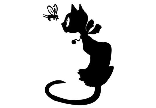 schwarz/weiss Ansicht - Wandtattoo Katze mit Fliege