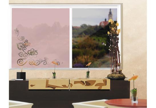 Folienfarbe in Wohnansicht: Romantic Rose - Sichtschutz Cornerment II