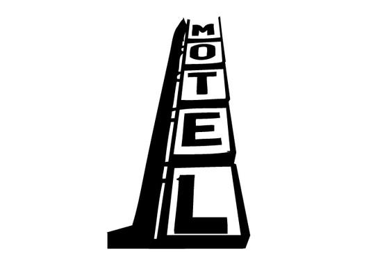 schwarz/weiss Ansicht - Wandtattoo Motel Letters