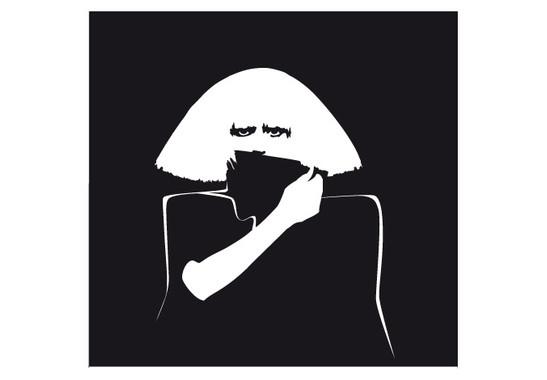 schwarz/weiss Ansicht - Wandtattoo Wallpaper Gaga II