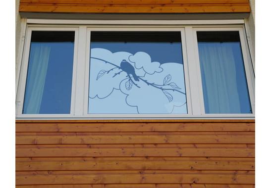 So könnte Ihr Kunstwerk im Raum wirken - Glasdekor Amsel Zweig