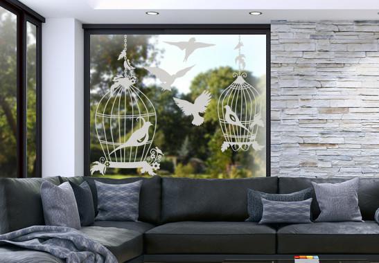 Glasdekor Vogel Voliere - Bild 2