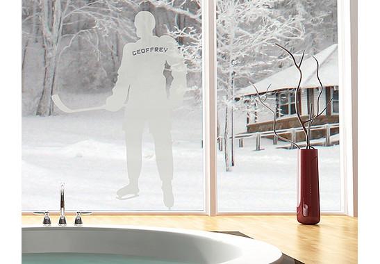 Folienfarbe in Wohnansicht: Frosted - Glasdekor Wunschtext Einshockey Spieler