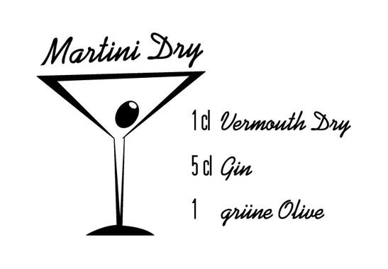 schwarz/weiss Ansicht - Wandtattoo Martini Dry