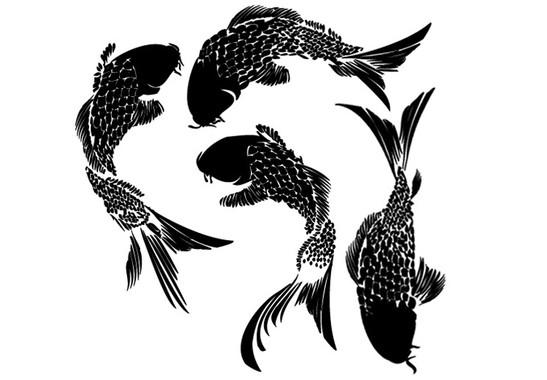 schwarz/weiss Ansicht - Wandtattoo Koi Fische