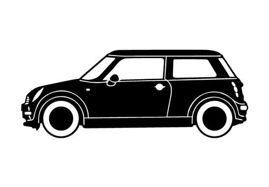schwarz/weiss Ansicht - Wandtattoo Mini