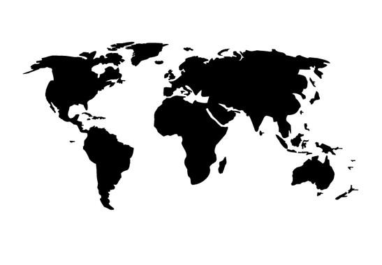 schwarz/weiss Ansicht - Wandtattoo Weltkarte